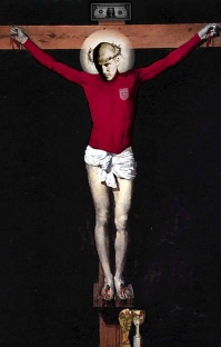 trhumc- Dette maleriet av en korsfestet David Becham
