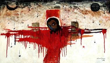 trhumc- Korsfestelsen malt av den etiopiske kunstneren Solomon Jeshome Jenbere i 1998