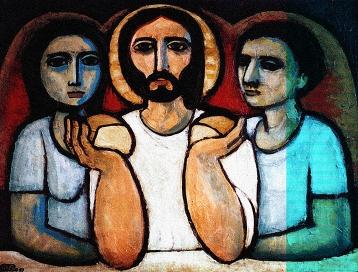 "Maximino Cerezo Barredo (Spanish, 1932–), ""Supper at Emmaus."" http://blogs.periodistadigital.com/imagenes.php/2013/04/28/emaus-8. Tags: woman"