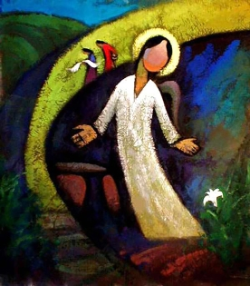 21_He Qi_Easter morning Artwork: Easter morning Artist: HE Qi Date: 2002 Technique: Location: Notes: Subject: Earthquake and Resurrection The Women at the Tomb Hosts: He Qi's Homepage [IMAGE]
