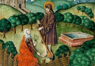 """Christ Appears to Mary Magdalene as a Gardener"" (detail), ca. 1503–1504, England. Fol. 134v, Vaux Passional (Peniarth 482D), National Library of Wales. http://brianzahnd.com/2016/03/the-gardener/; https://commons.wikimedia.org/wiki/File:Christ_appears_to_Mary_Magdalen_as_a_gardener_(Noli_me_tangere)_(f._134v).jpg"