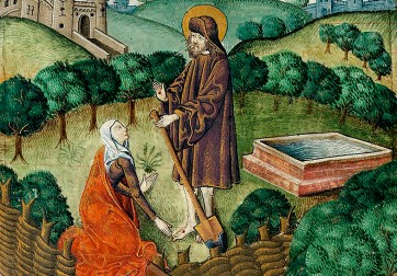 """""""Christ Appears to Mary Magdalene as a Gardener"""" (detail), ca. 1503–1504, England. Fol. 134v, Vaux Passional (Peniarth 482D), National Library of Wales. http://brianzahnd.com/2016/03/the-gardener/; https://commons.wikimedia.org/wiki/File:Christ_appears_to_Mary_Magdalen_as_a_gardener_(Noli_me_tangere)_(f._134v).jpg"""